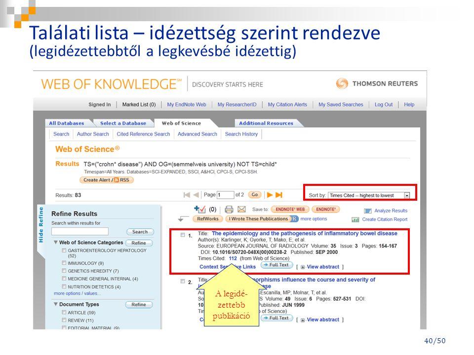 40/50 A legidé- zettebb publikáció Találati lista – idézettség szerint rendezve (legidézettebbtől a legkevésbé idézettig)