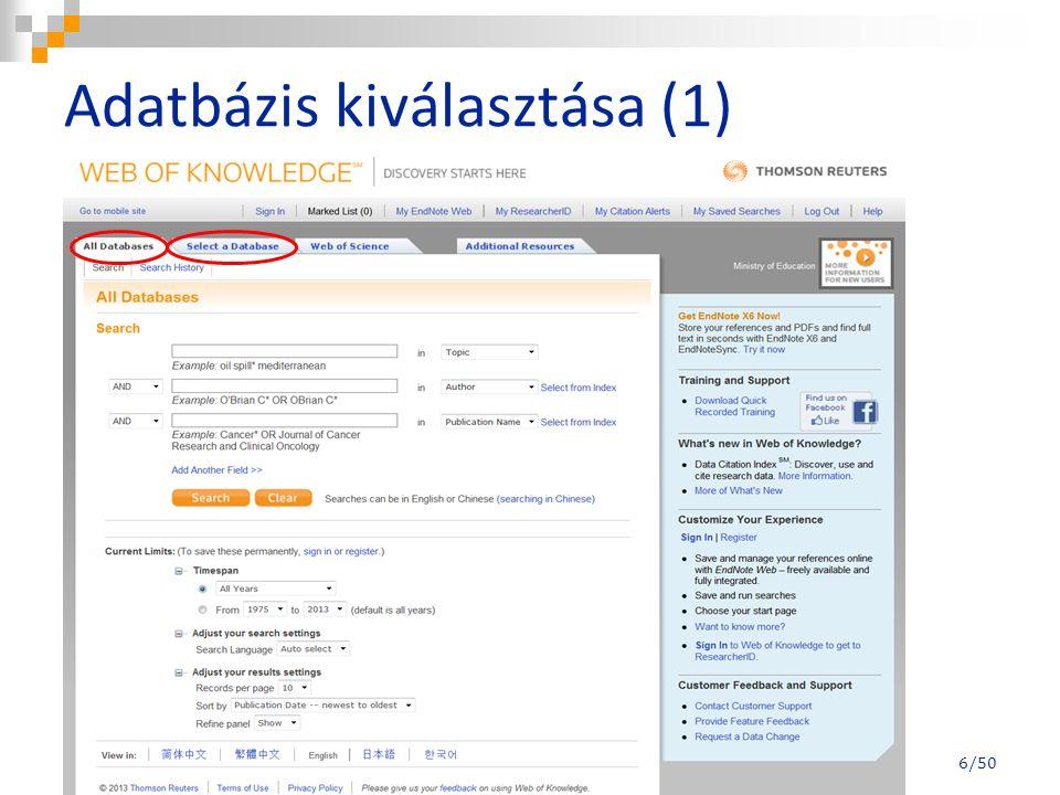 My ResearcerhID (2) - főoldal 47/50 Elérhető még: http://www.researcherid.com