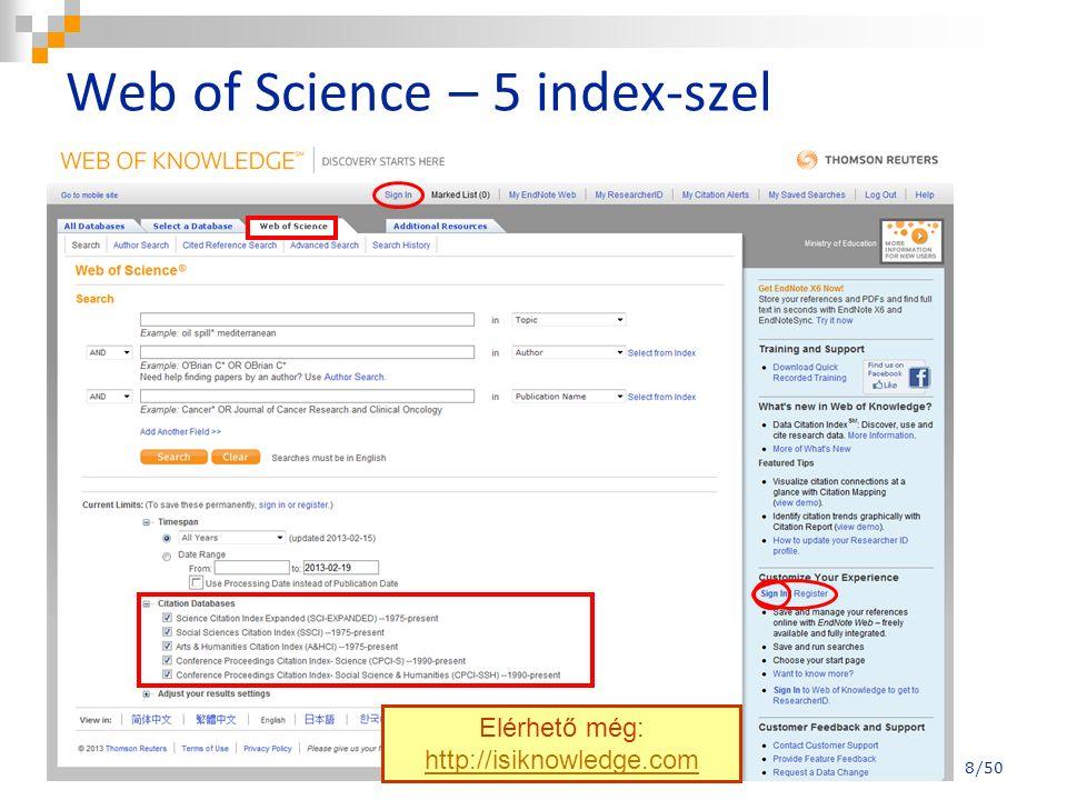 A Times Cited számadatára kattintva megkapjuk, hogy hányan idézik ezt a cikket a Web of Science adatbázisban.
