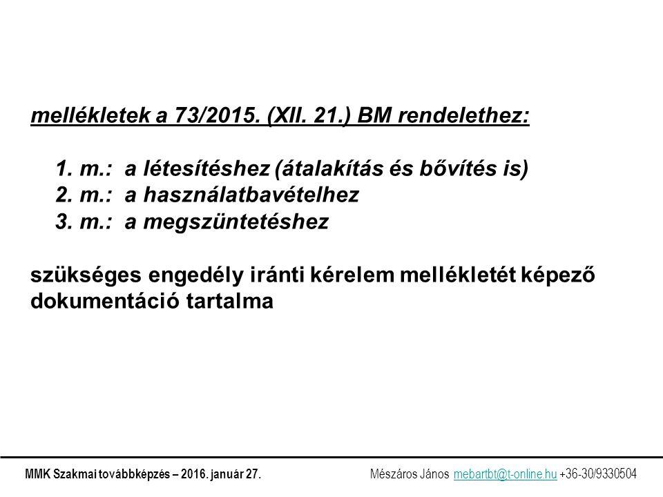 mellékletek a 73/2015. (XII. 21.) BM rendelethez: 1.