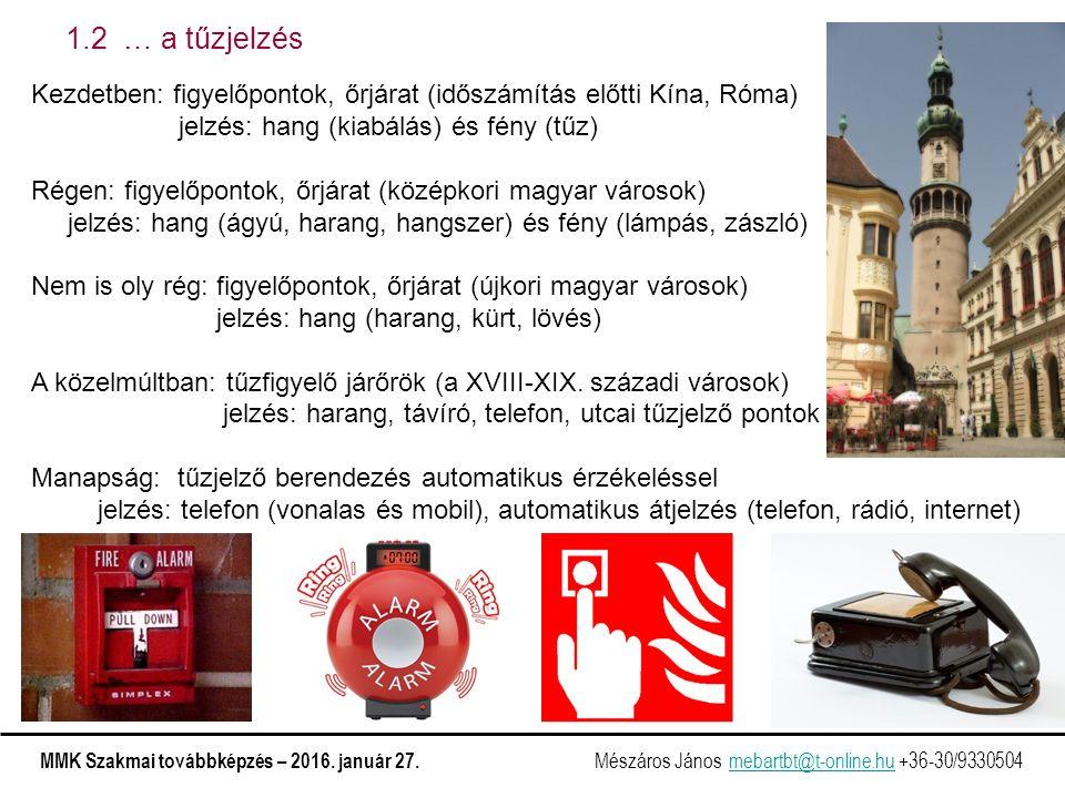 1.2 … a tűzjelzés Kezdetben: figyelőpontok, őrjárat (időszámítás előtti Kína, Róma) jelzés: hang (kiabálás) és fény (tűz) Régen: figyelőpontok, őrjárat (középkori magyar városok) jelzés: hang (ágyú, harang, hangszer) és fény (lámpás, zászló) Nem is oly rég: figyelőpontok, őrjárat (újkori magyar városok) jelzés: hang (harang, kürt, lövés) A közelmúltban: tűzfigyelő járőrök (a XVIII-XIX.