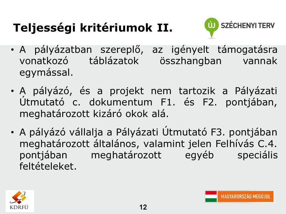 12 Teljességi kritériumok II.