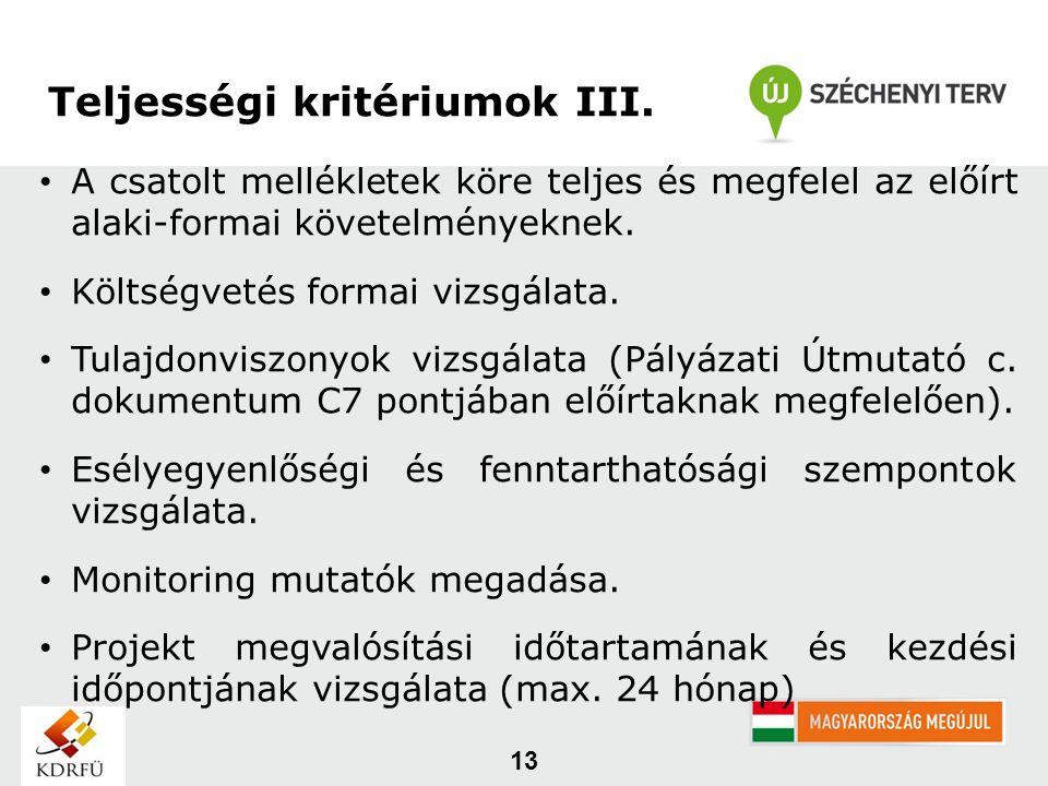 13 Teljességi kritériumok III.