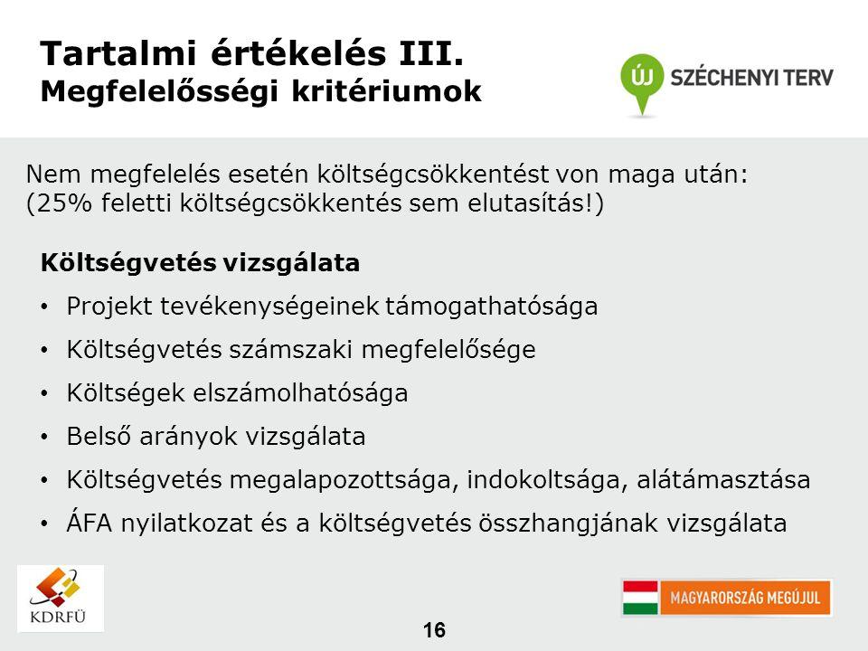 16 Tartalmi értékelés III.