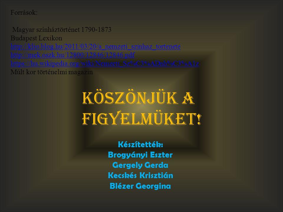 Források: Magyar színháztörténet 1790-1873 Budapest Lexikon http://klio.blog.hu/2011/03/20/a_nemzeti_szinhaz_tortenete http://mek.oszk.hu/12800/12846/12846.pdf https://hu.wikipedia.org/wiki/Nemzeti_Sz%C3%ADnh%C3%A1z Múlt kor történelmi magazin http://klio.blog.hu/2011/03/20/a_nemzeti_szinhaz_tortenete http://mek.oszk.hu/12800/12846/12846.pdf https://hu.wikipedia.org/wiki/Nemzeti_Sz%C3%ADnh%C3%A1z Készítették: Brogyányi Eszter Gergely Gerda Kecskés Krisztián Blézer Georgina Köszönjük a figyelmüket!