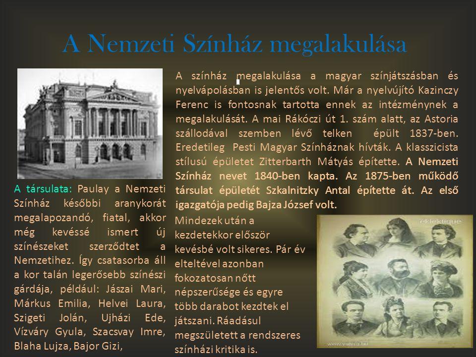A Nemzeti Színház megalakulása A színház megalakulása a magyar színjátszásban és nyelvápolásban is jelentős volt. Már a nyelvújító Kazinczy Ferenc is