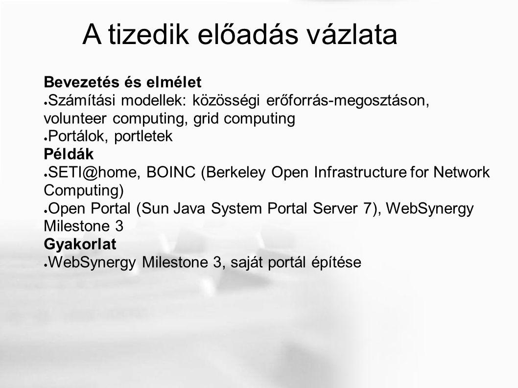 Feladatok Otthoni feladat: készíts egy portált a WebSynergy Milestone 3 használatával.