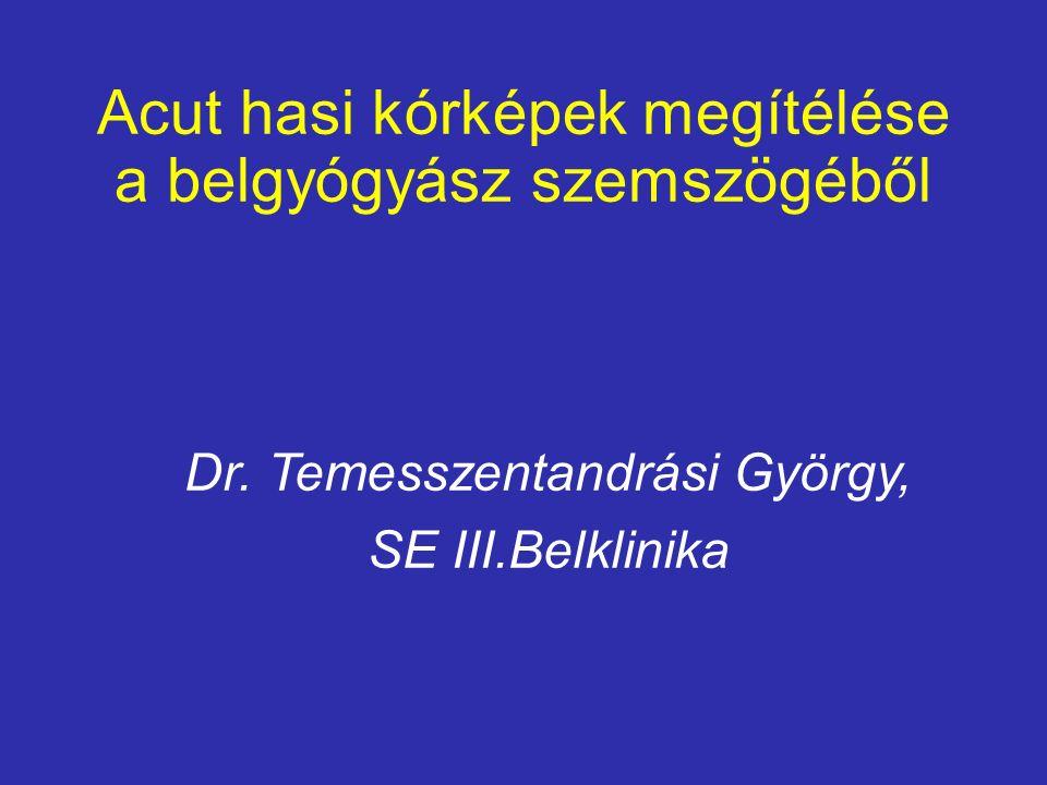 Acut hasi kórképek megítélése a belgyógyász szemszögéből Dr. Temesszentandrási György, SE III.Belklinika