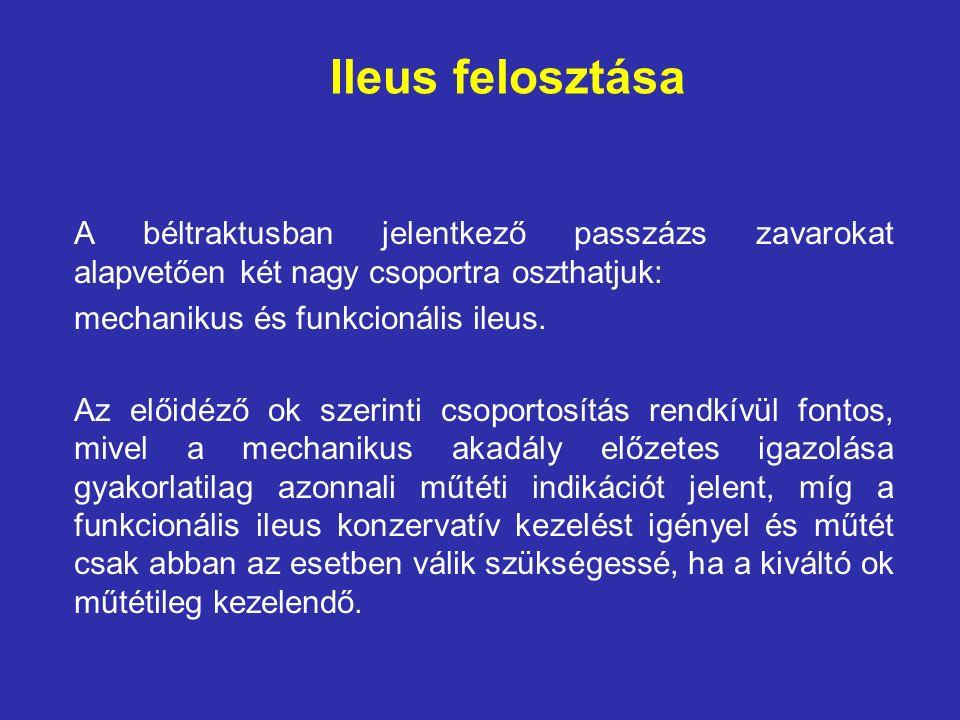 Ileus felosztása A béltraktusban jelentkező passzázs zavarokat alapvetően két nagy csoportra oszthatjuk: mechanikus és funkcionális ileus.