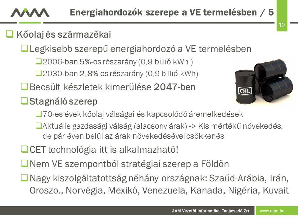 12 Energiahordozók szerepe a VE termelésben / 5  Kőolaj és származékai  Legkisebb szerepű energiahordozó a VE termelésben  2006-ban 5%-os részarány