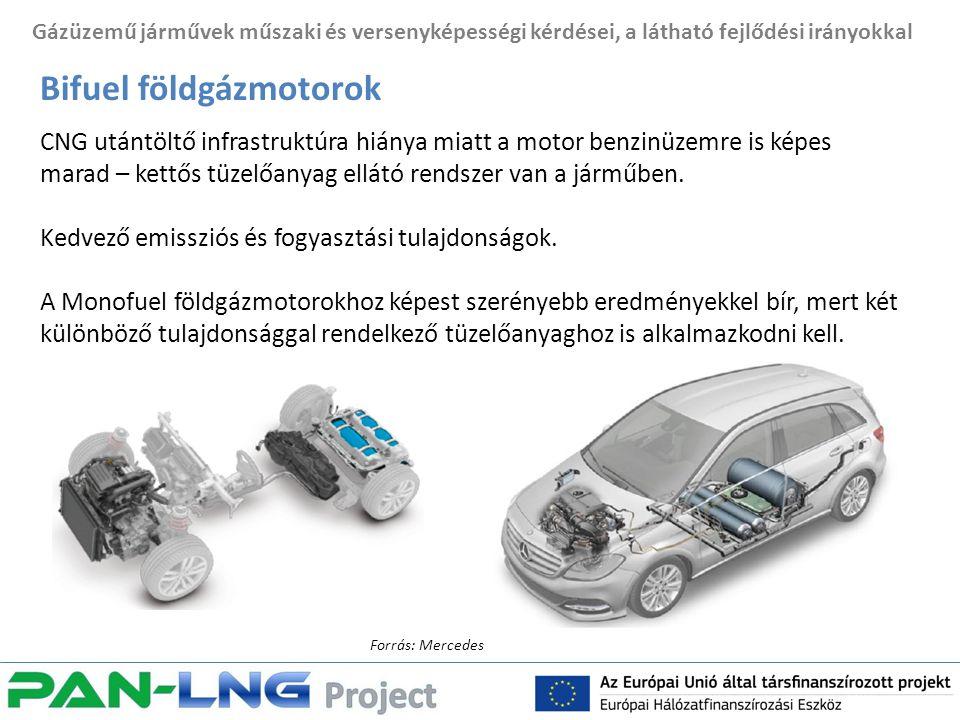 Gázüzemű járművek műszaki és versenyképességi kérdései, a látható fejlődési irányokkal Bifuel földgázmotorok CNG utántöltő infrastruktúra hiánya miatt a motor benzinüzemre is képes marad – kettős tüzelőanyag ellátó rendszer van a járműben.