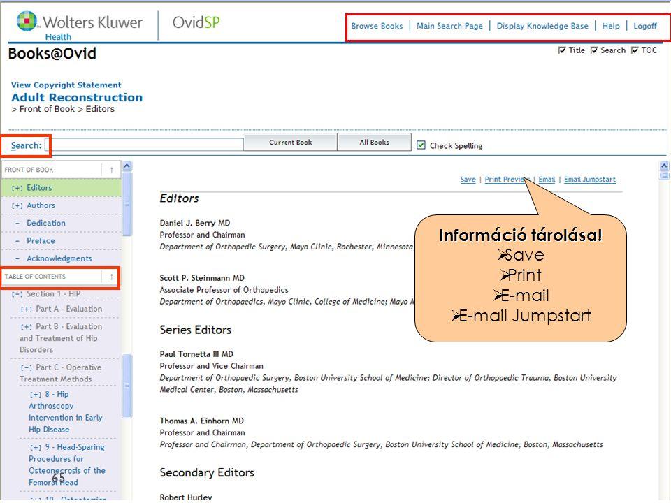 Információ tárolása!  Save  Print  E-mail  E-mail Jumpstart 65