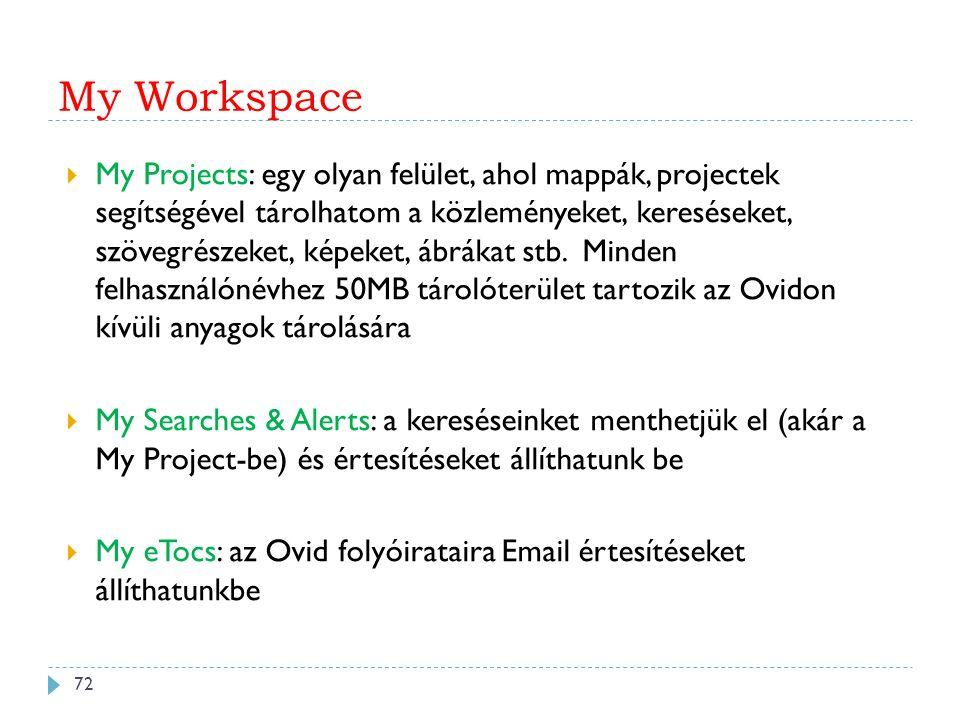 My Workspace  My Projects: egy olyan felület, ahol mappák, projectek segítségével tárolhatom a közleményeket, kereséseket, szövegrészeket, képeket, ábrákat stb.