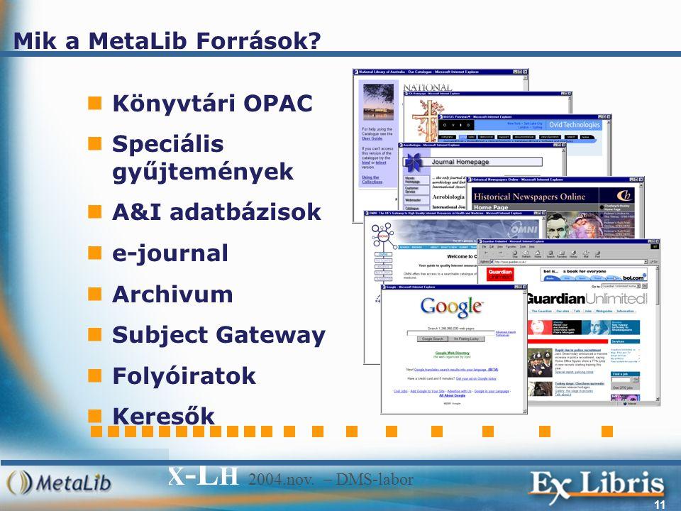 E X -L H 2004.nov. – DMS-labor 11 Mik a MetaLib Források.
