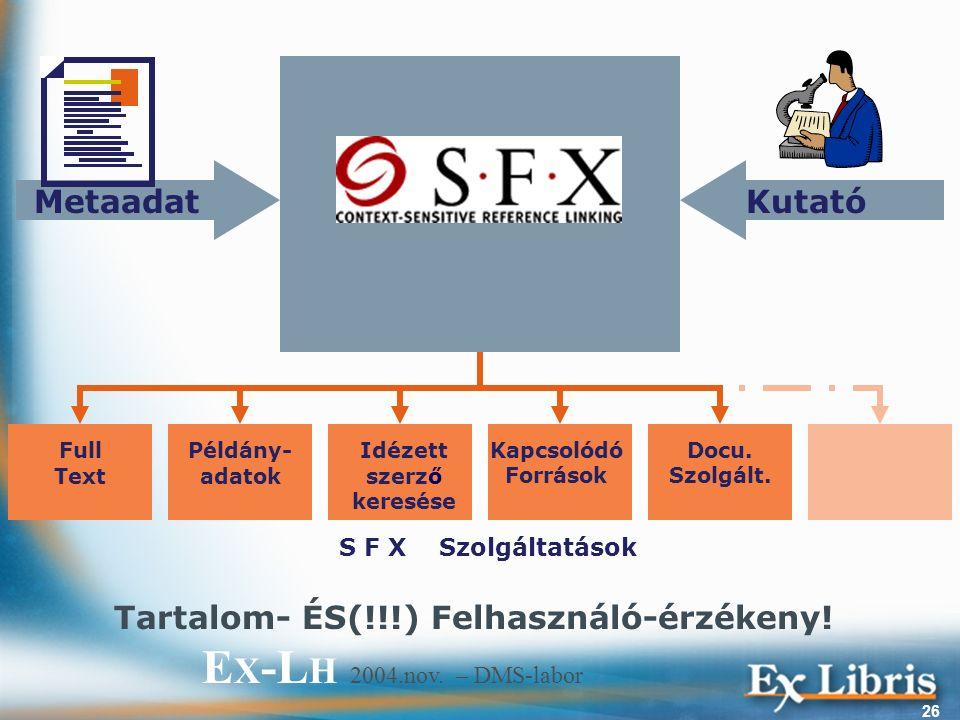 E X -L H 2004.nov. – DMS-labor 26 Full Text Példány- adatok Docu.