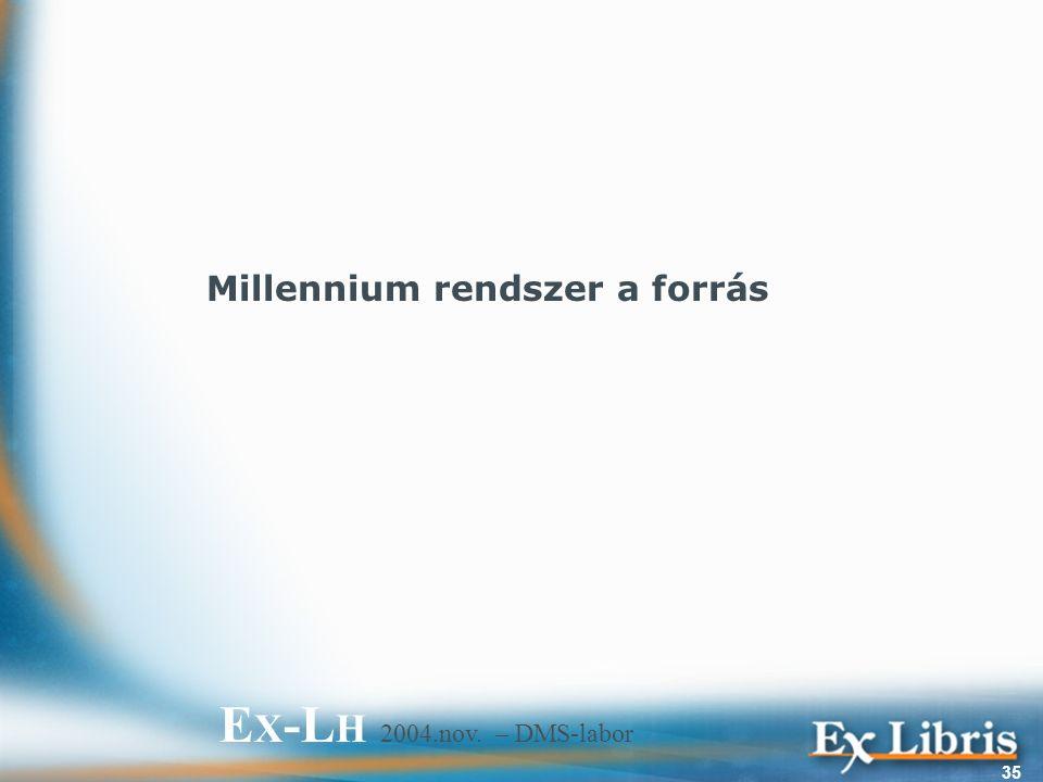 E X -L H 2004.nov. – DMS-labor 35 Millennium rendszer a forrás