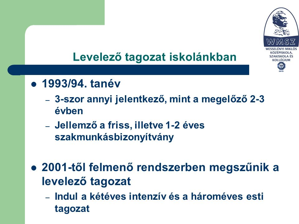 Levelező tagozat iskolánkban 1993/94.