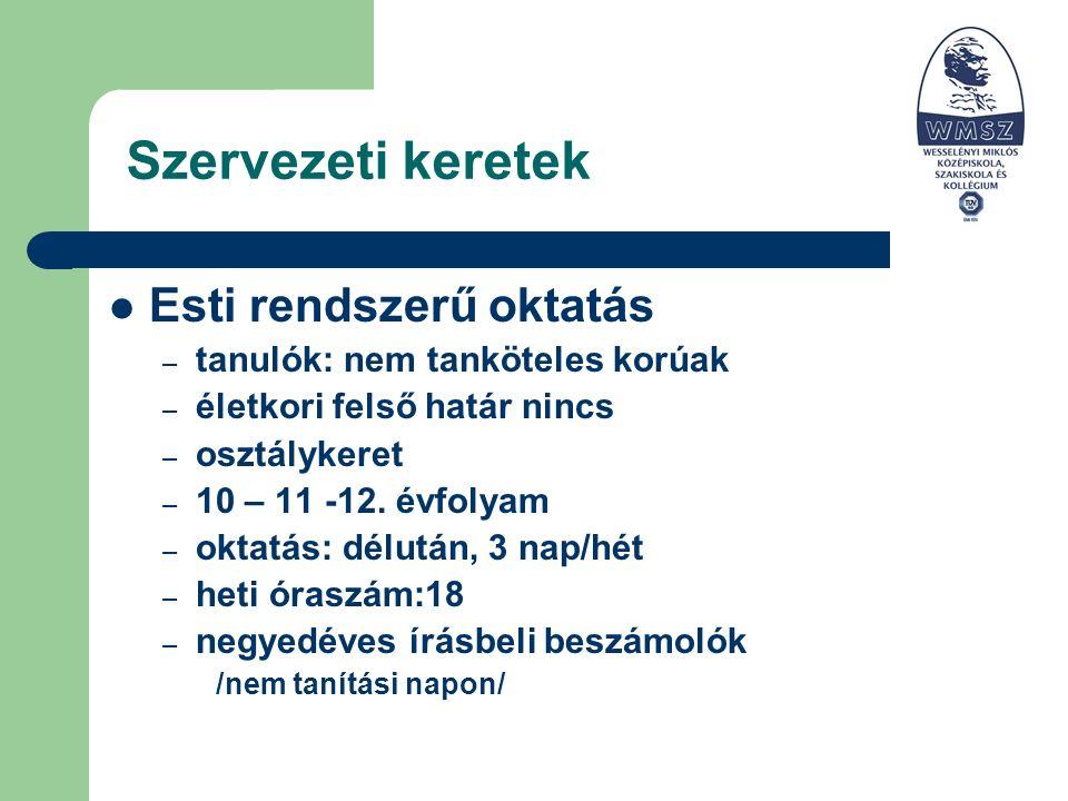 Szervezeti keretek Esti rendszerű oktatás – tanulók: nem tanköteles korúak – életkori felső határ nincs – osztálykeret – 10 – 11 -12.