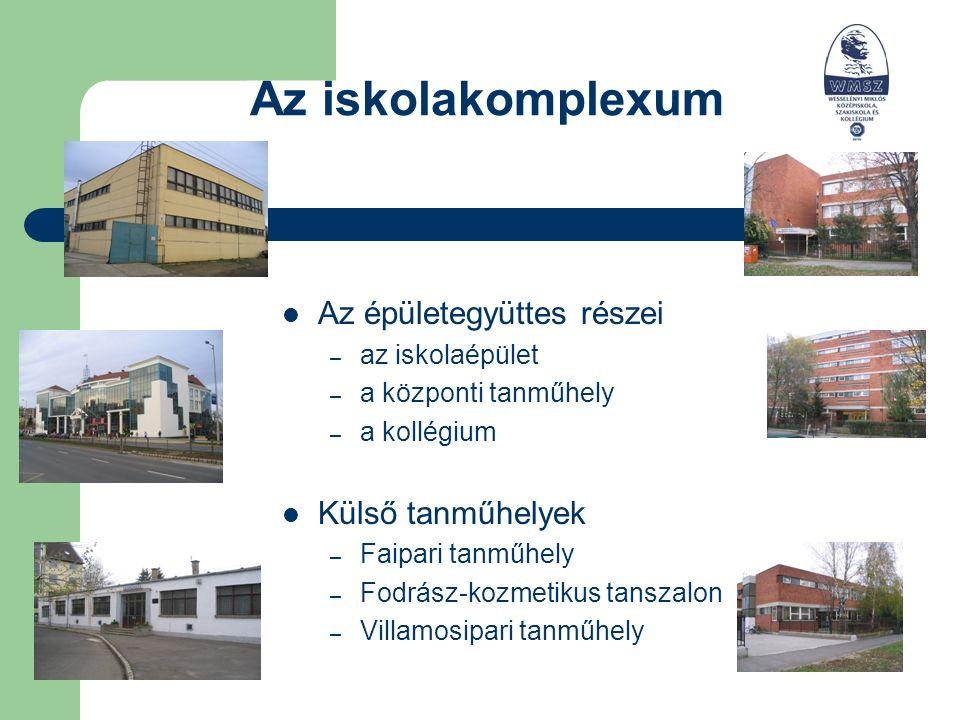 Az iskolakomplexum Az épületegyüttes részei – az iskolaépület – a központi tanműhely – a kollégium Külső tanműhelyek – Faipari tanműhely – Fodrász-kozmetikus tanszalon – Villamosipari tanműhely