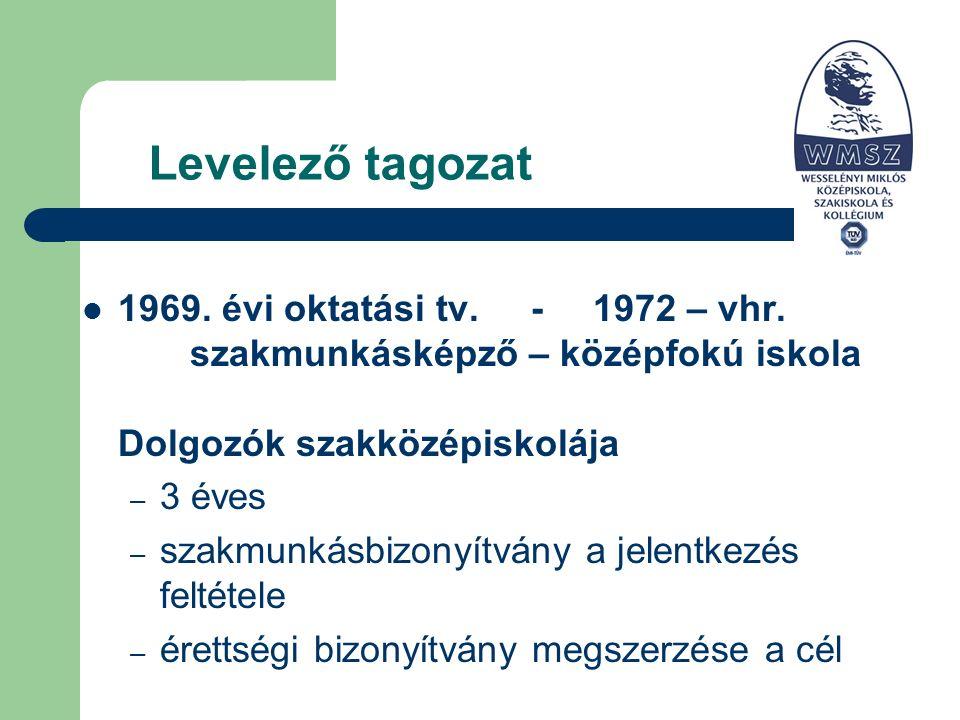 Levelező tagozat 1969. évi oktatási tv. - 1972 – vhr.
