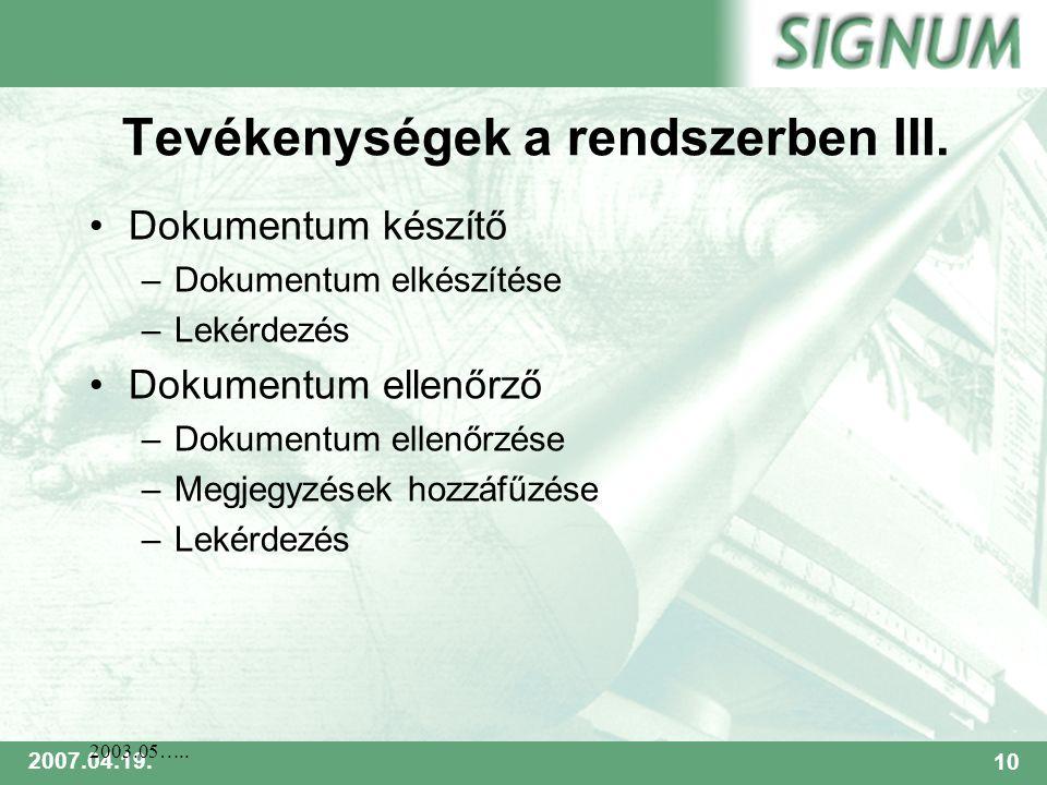 SIGNUM 2007.04.19.10 2003.05….. Tevékenységek a rendszerben III.