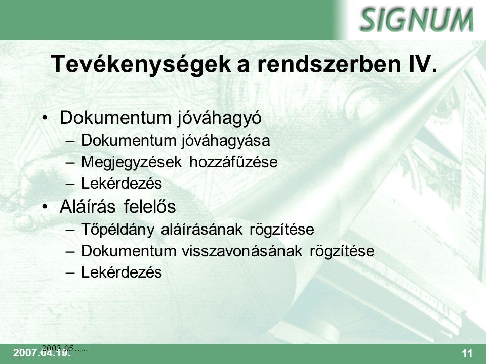 SIGNUM 2007.04.19.11 2003.05….. Tevékenységek a rendszerben IV.