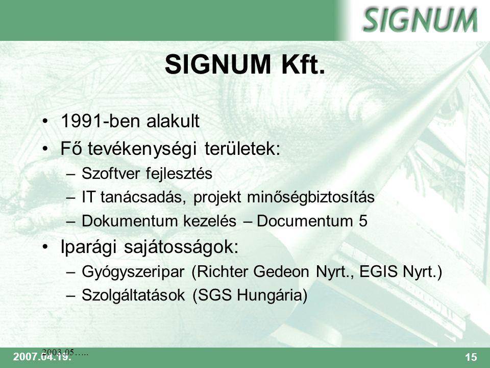 SIGNUM 2007.04.19.15 2003.05….. SIGNUM Kft.