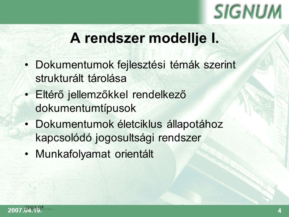 SIGNUM 2007.04.19.4 2003.05….. A rendszer modellje I.