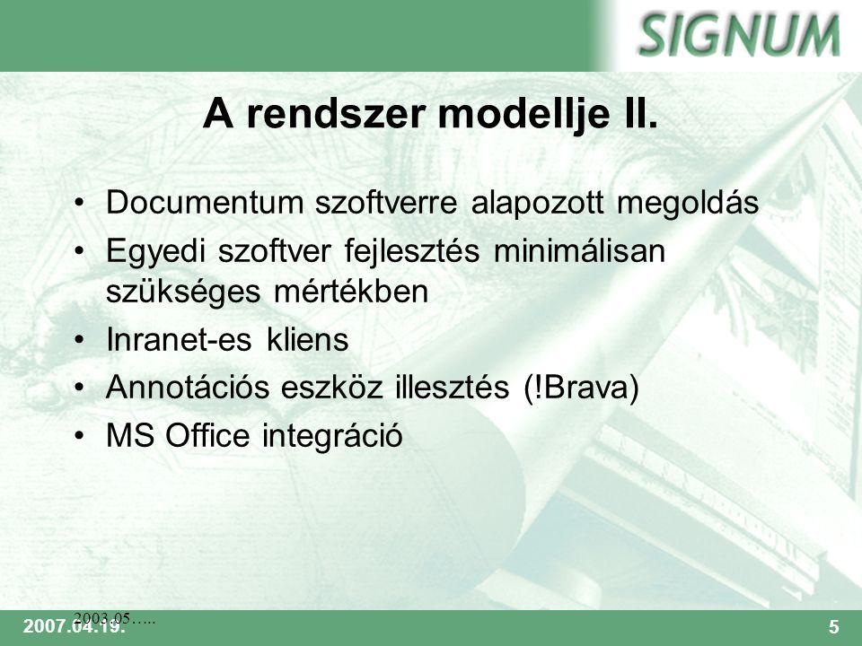 SIGNUM 2007.04.19.5 2003.05….. A rendszer modellje II.