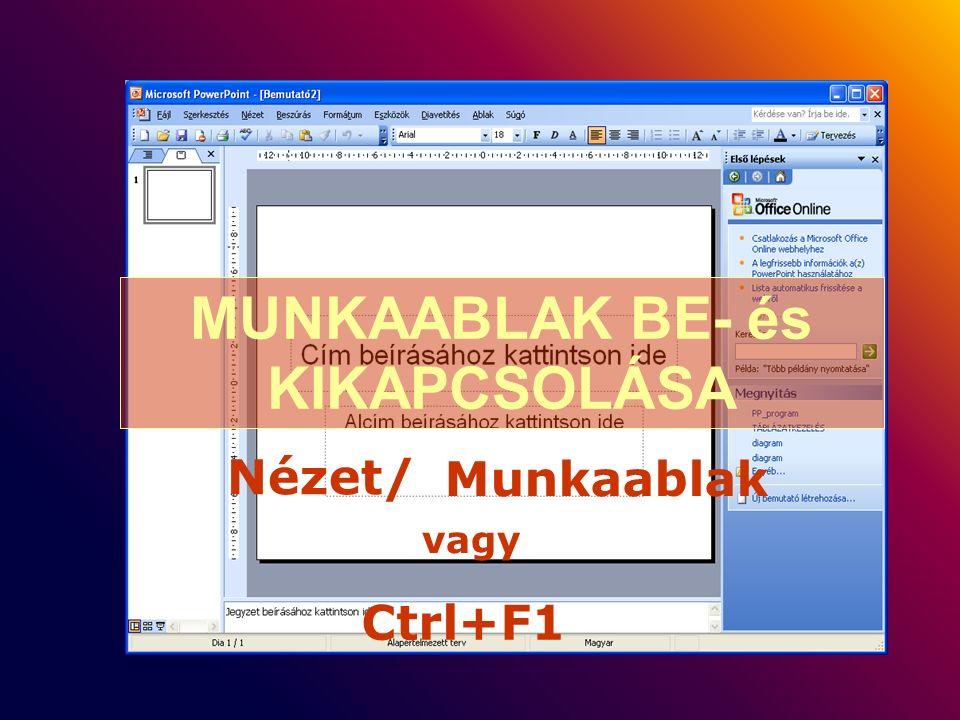 MUNKAABLAK BE- és KIKAPCSOLÁSA vagy Nézet/ Munkaablak Ctrl+F1