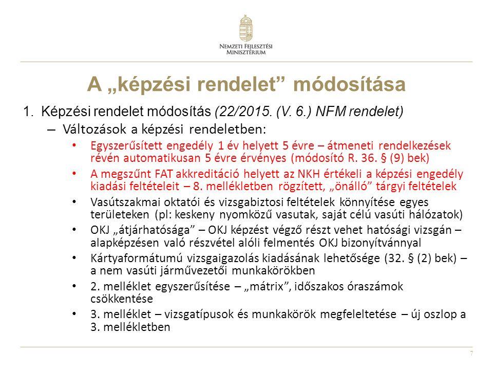 """7 A """"képzési rendelet"""" módosítása 1.Képzési rendelet módosítás (22/2015. (V. 6.) NFM rendelet) – Változások a képzési rendeletben: Egyszerűsített enge"""