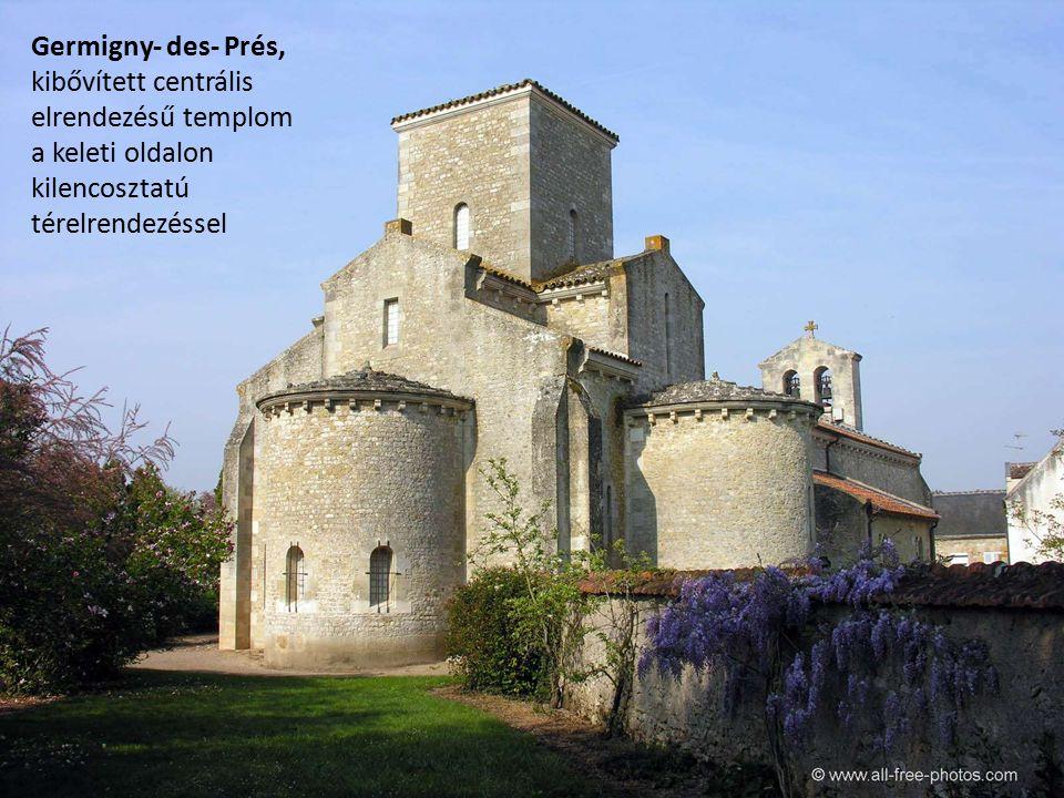 Germigny- des- Prés, kibővített centrális elrendezésű templom a keleti oldalon kilencosztatú térelrendezéssel