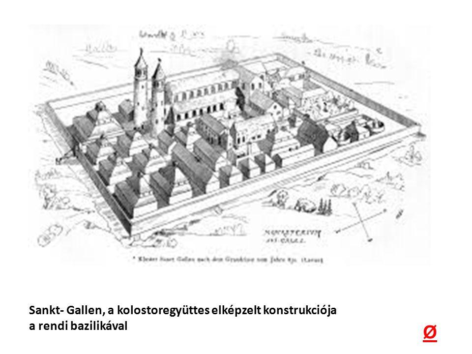 Sankt- Gallen, a kolostoregyüttes elképzelt konstrukciója a rendi bazilikával Ø