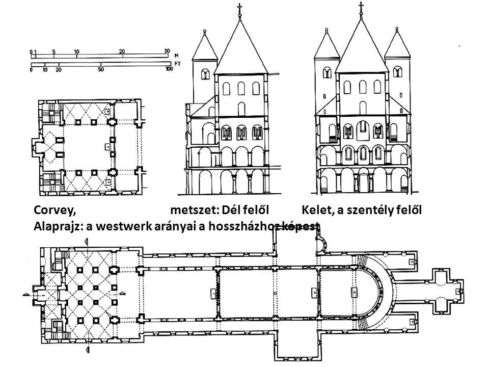 Corvey, metszet: Dél felől Kelet, a szentély felől Alaprajz: a westwerk arányai a hosszházhoz képest