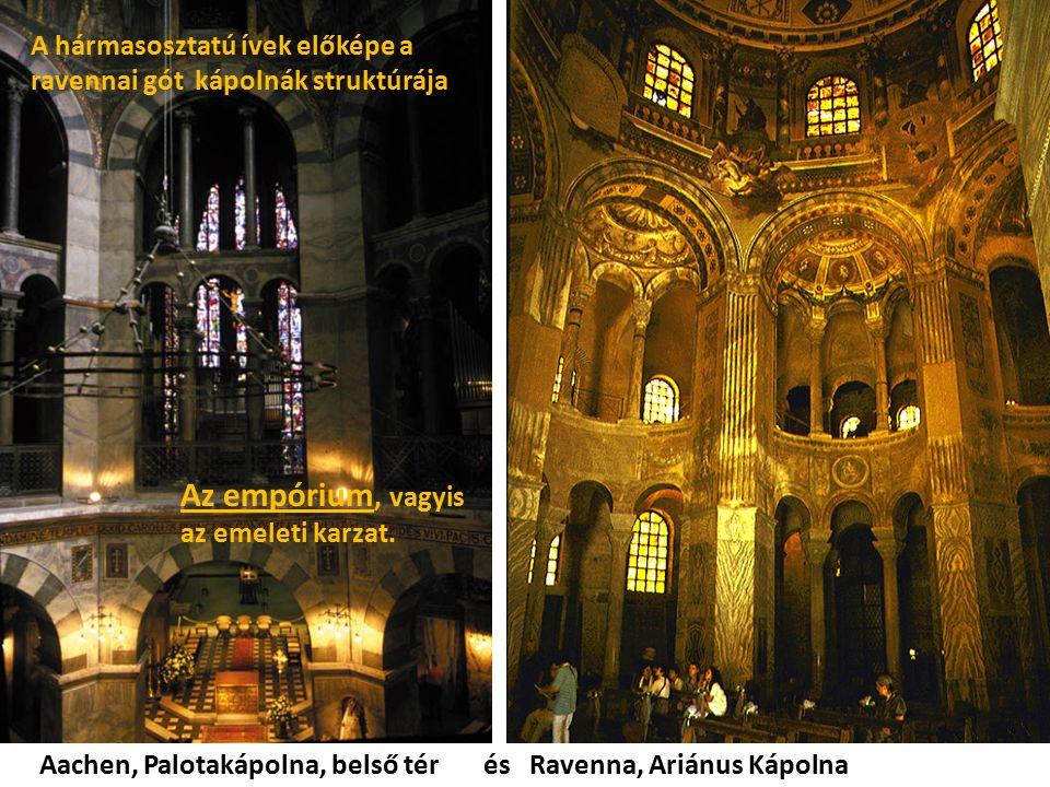 Aachen, Palotakápolna, belső tér és Ravenna, Ariánus Kápolna Az empórium, vagyis az emeleti karzat. A hármasosztatú ívek előképe a ravennai gót kápoln