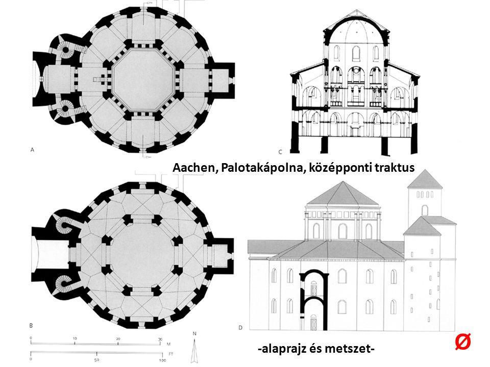 Aachen, Palotakápolna, középponti traktus -alaprajz és metszet- Ø