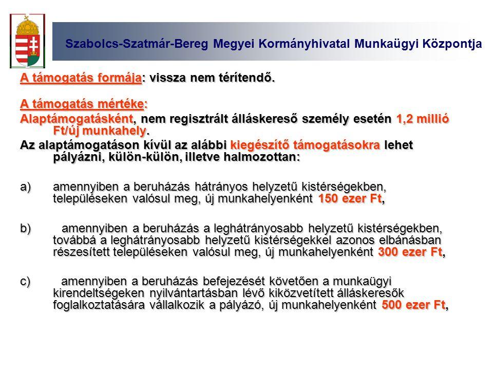 Szabolcs-Szatmár-Bereg Megyei Kormányhivatal Munkaügyi Központja A támogatás formája: vissza nem térítendő.