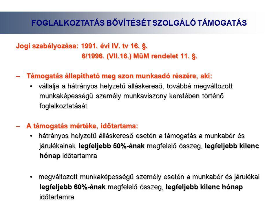 Jogi szabályozása: 1991. évi IV. tv 16. §. 6/1996.