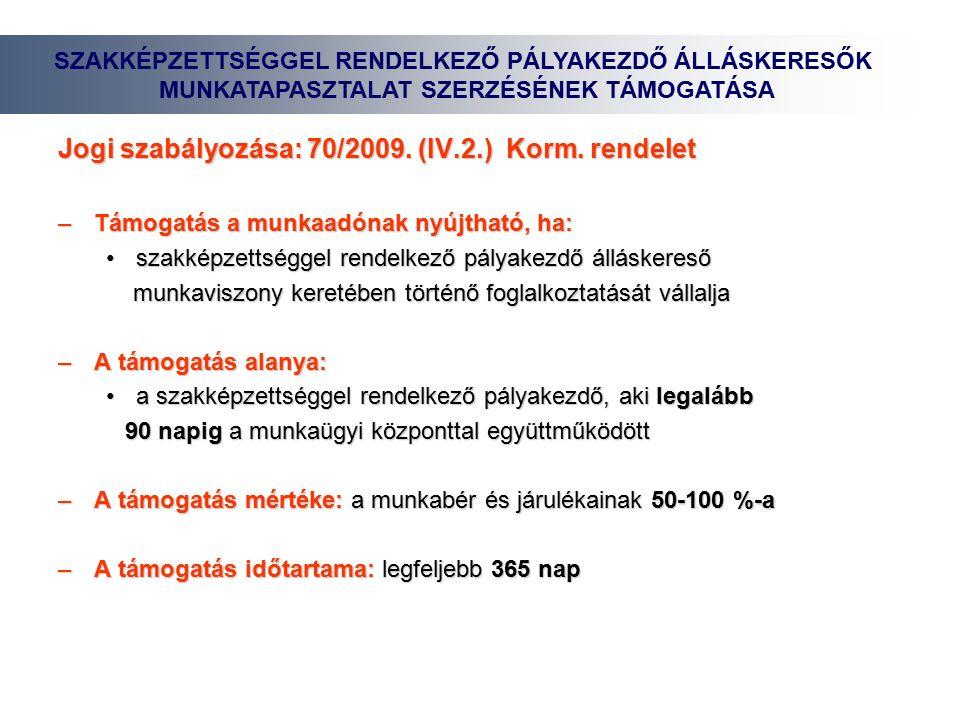 Jogi szabályozása: 70/2009. (IV.2.) Korm.