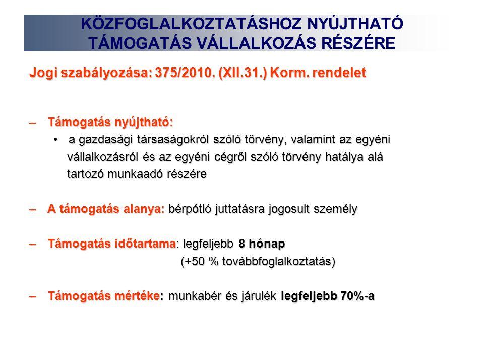 Jogi szabályozása: 375/2010. (XII.31.) Korm.