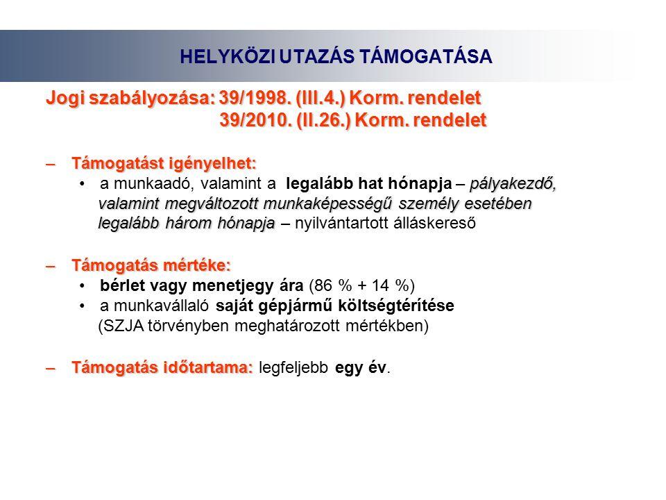HELYKÖZI UTAZÁS TÁMOGATÁSA Jogi szabályozása: 39/1998.