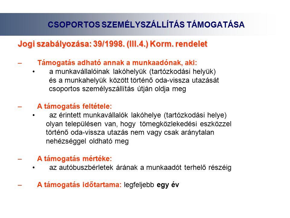 CSOPORTOS SZEMÉLYSZÁLLÍTÁS TÁMOGATÁSA Jogi szabályozása: 39/1998.