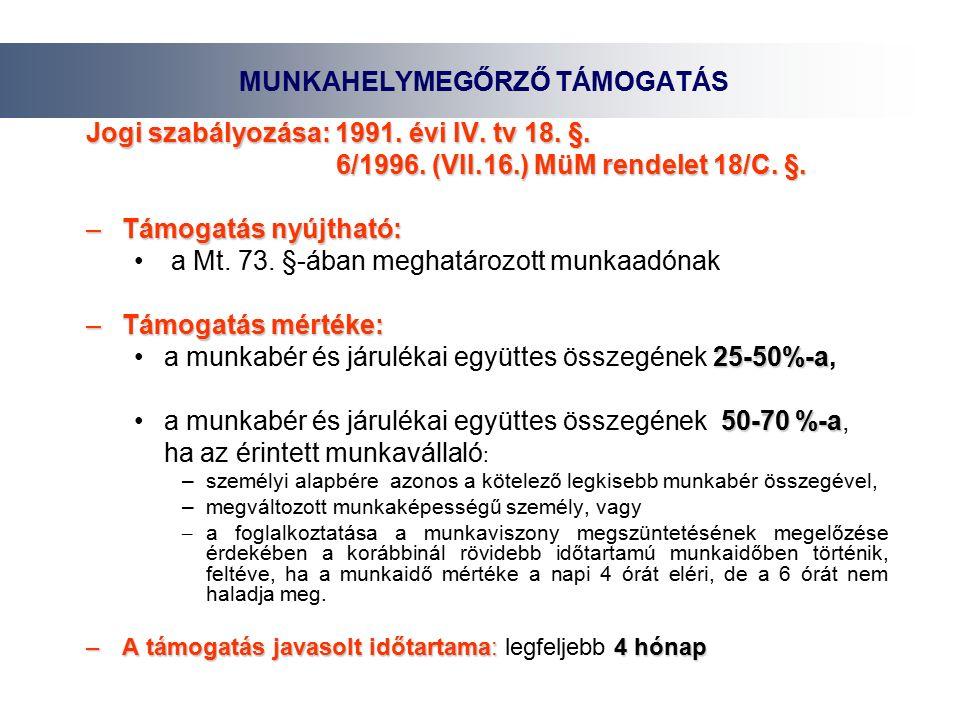 Jogi szabályozása: 1991. évi IV. tv 18. §. 6/1996.