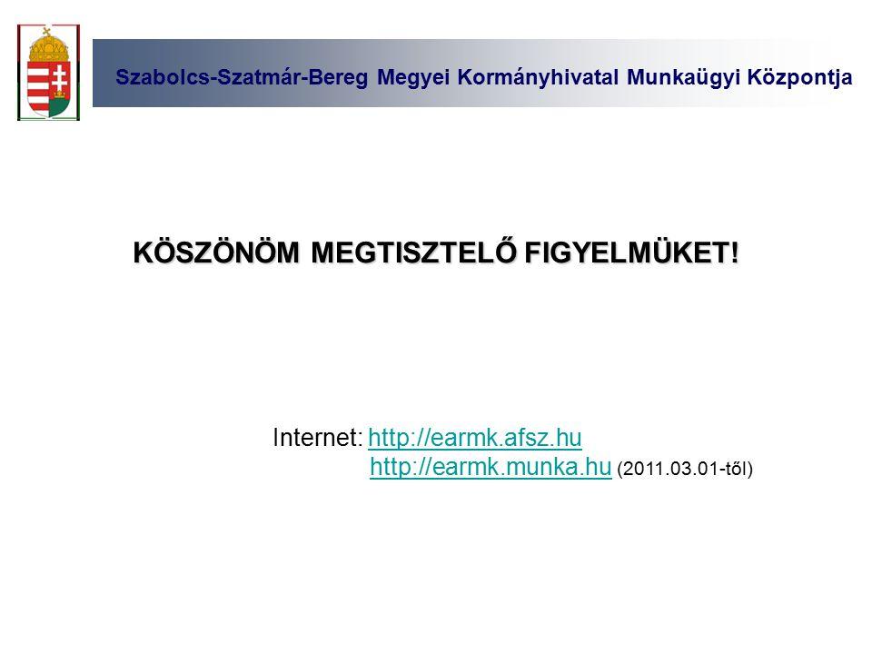 Internet: http://earmk.afsz.huhttp://earmk.afsz.hu http://earmk.munka.hu (2011.03.01-től)http://earmk.munka.hu KÖSZÖNÖM MEGTISZTELŐ FIGYELMÜKET.