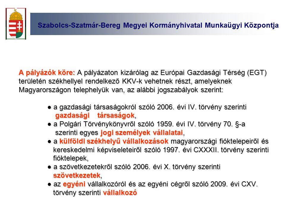 Szabolcs-Szatmár-Bereg Megyei Kormányhivatal Munkaügyi Központja A pályázók köre: A pályázaton kizárólag az Európai Gazdasági Térség (EGT) területén székhellyel rendelkező KKV-k vehetnek részt, amelyeknek Magyarországon telephelyük van, az alábbi jogszabályok szerint: ● a gazdasági társaságokról szóló 2006.