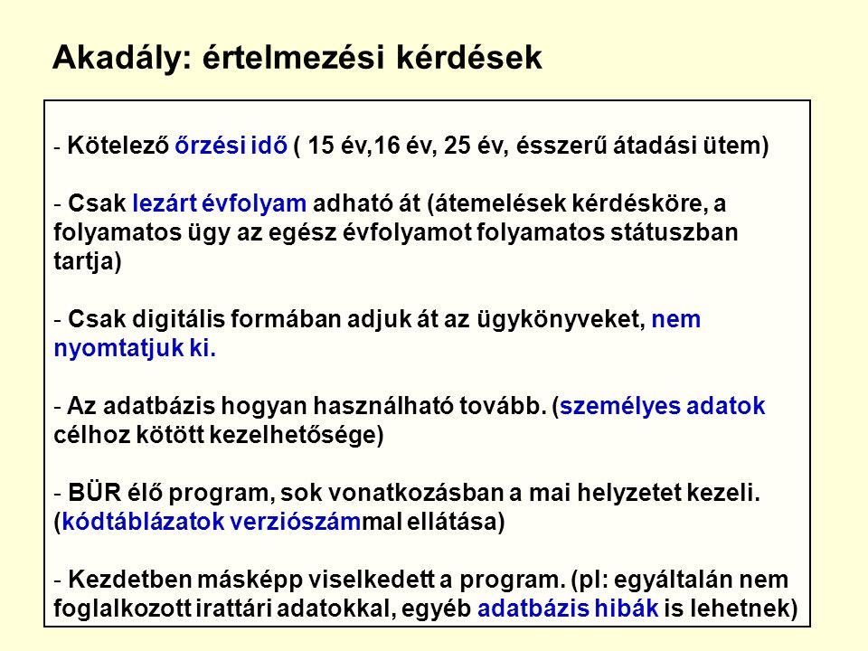 Akadály: értelmezési kérdések - Kötelező őrzési idő ( 15 év,16 év, 25 év, ésszerű átadási ütem) - Csak lezárt évfolyam adható át (átemelések kérdésköre, a folyamatos ügy az egész évfolyamot folyamatos státuszban tartja) - Csak digitális formában adjuk át az ügykönyveket, nem nyomtatjuk ki.