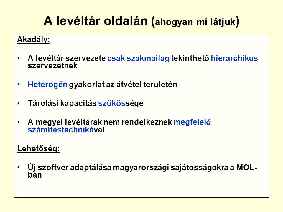 A levéltár oldalán ( ahogyan mi látjuk ) Akadály: A levéltár szervezete csak szakmailag tekinthető hierarchikus szervezetnek Heterogén gyakorlat az átvétel területén Tárolási kapacitás szűkössége A megyei levéltárak nem rendelkeznek megfelelő számítástechnikával Lehetőség: Új szoftver adaptálása magyarországi sajátosságokra a MOL- ban