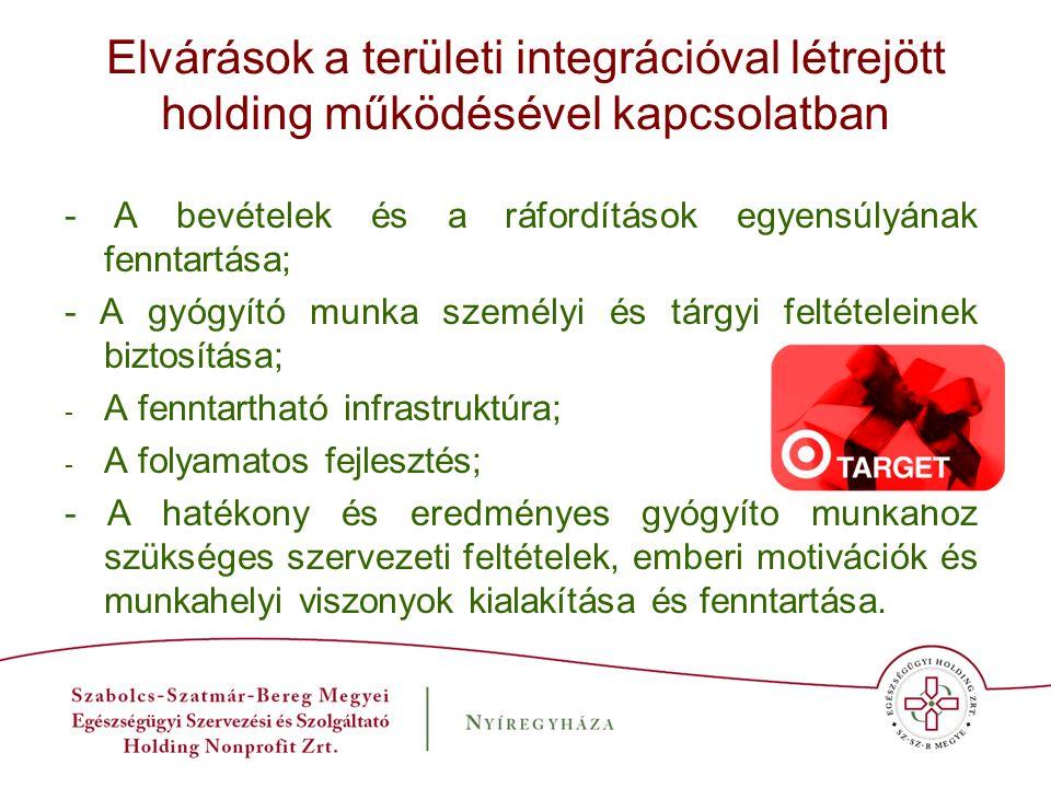 Elvárások a területi integrációval létrejött holding működésével kapcsolatban - A bevételek és a ráfordítások egyensúlyának fenntartása; - A gyógyító