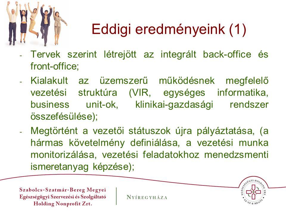 Eddigi eredményeink (1) - Tervek szerint létrejött az integrált back-office és front-office; - Kialakult az üzemszerű működésnek megfelelő vezetési st