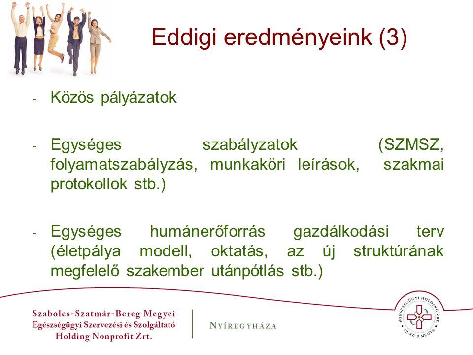 Eddigi eredményeink (3) - Közös pályázatok - Egységes szabályzatok (SZMSZ, folyamatszabályzás, munkaköri leírások, szakmai protokollok stb.) - Egysége
